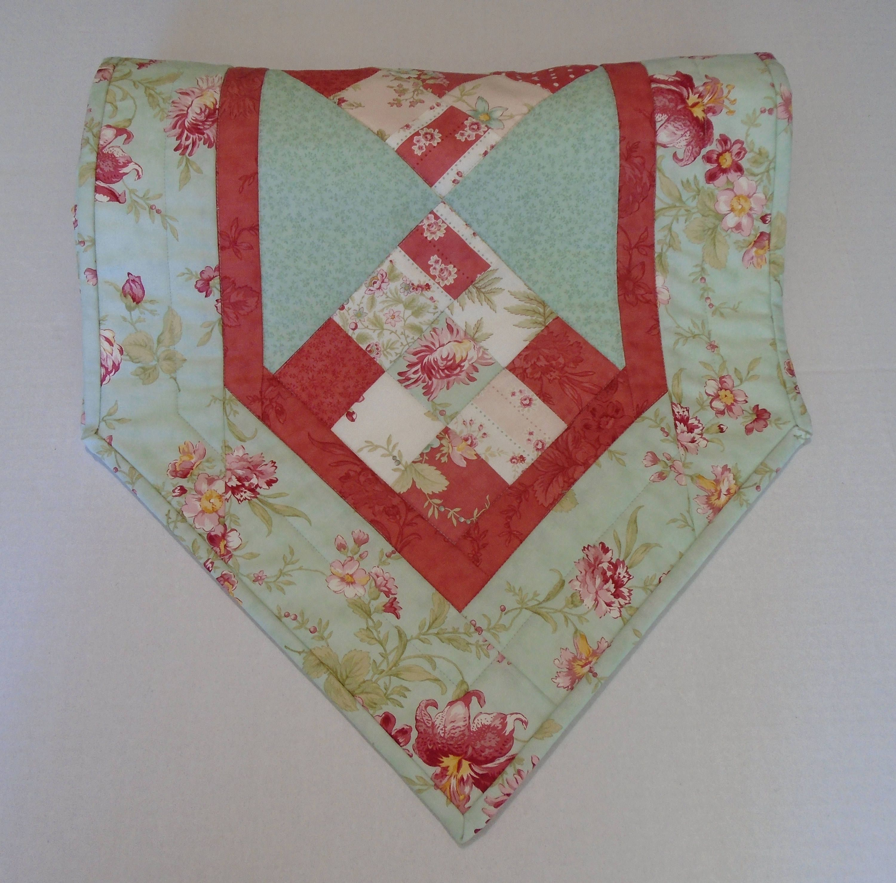 Fl Quilted Table Runner In Aqua And Rose Topper Roses Flowers Dresser Scarf Patchwork Quilt