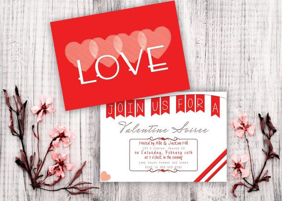 Most adorable customizable Valentine's Day invitation with LOVE in big letters on the front and a cute banner on the back! Precious.
