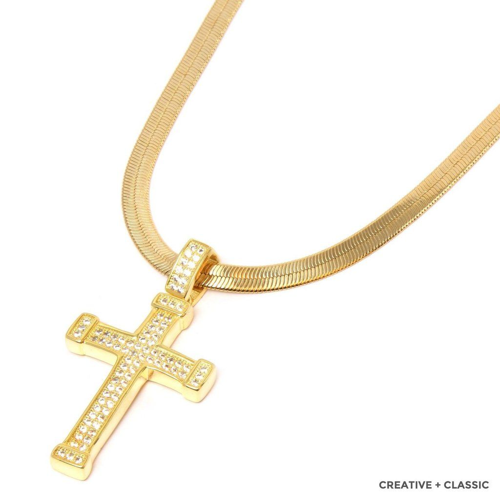 14K Gold Plated Cubic Zirconia Cross Pendant Necklace with