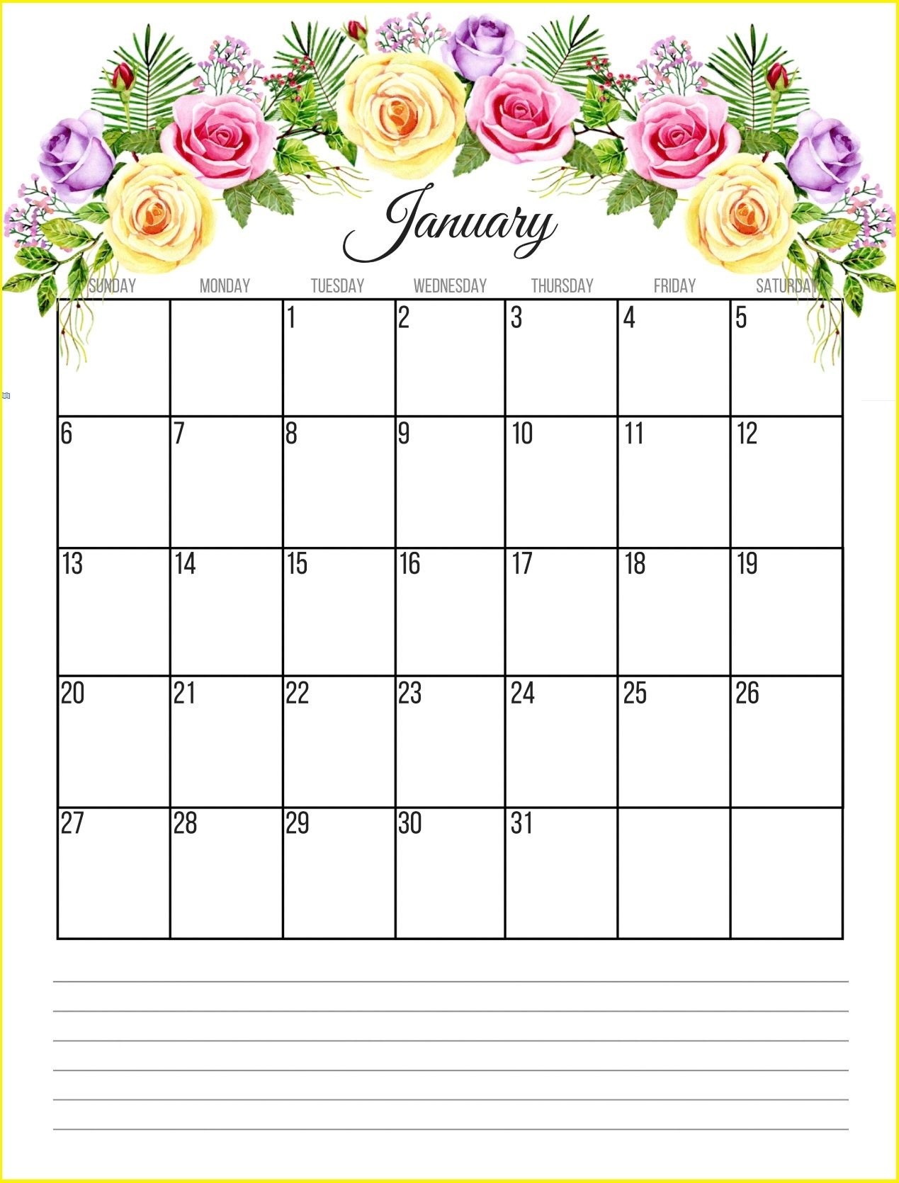 January 2019 Floral Calendar Free Printable January 2019 Floral Designs Calendars and Templates for Desk Wall