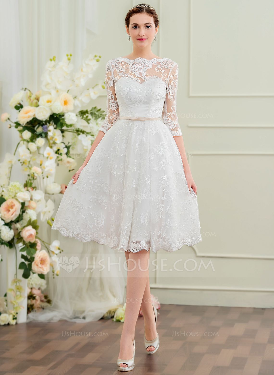 Us 214 00 A Line Illusion Knee Length Lace Wedding Dress With Bow S Jj S House Knee Length Wedding Dress Civil Wedding Dresses Bow Wedding Dress [ 1562 x 1140 Pixel ]