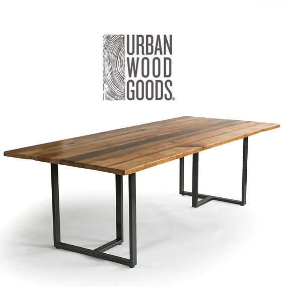 Industrial Modern Wood Table With Reclaimed Wood Table Top Etsy Modern Farmhouse Dining Reclaimed Wood Dining Table Dining Table