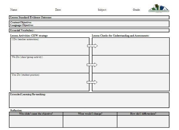 Daily Single Subject Lesson Plan Template with Grid - Elementary ...