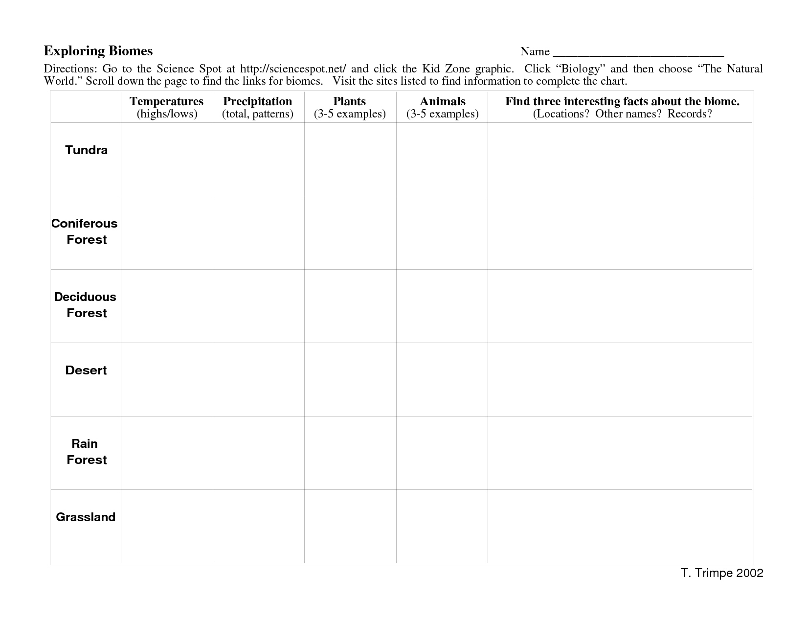 {Biomes Worksheet – Biomes Worksheet