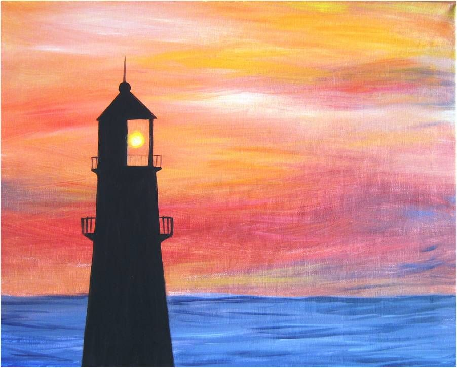 Find Your Next Paint Night Oil Painting Inspiration Lighthouse