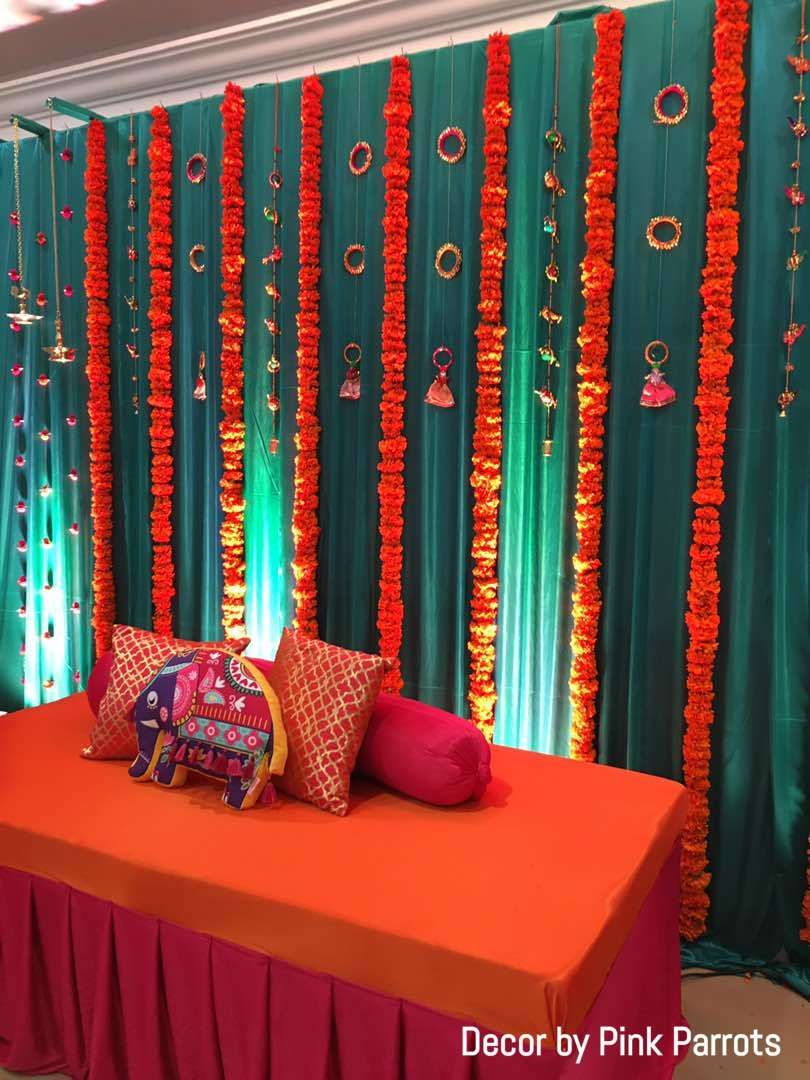 Decoration mendhak function mehendi stage decorations flower indian wedding also decor ideas for your in rh pinterest