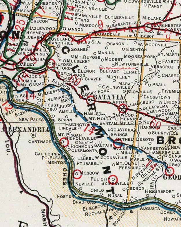 Clermont County, Ohio, 1901, Map, Batavia, Williamsburg