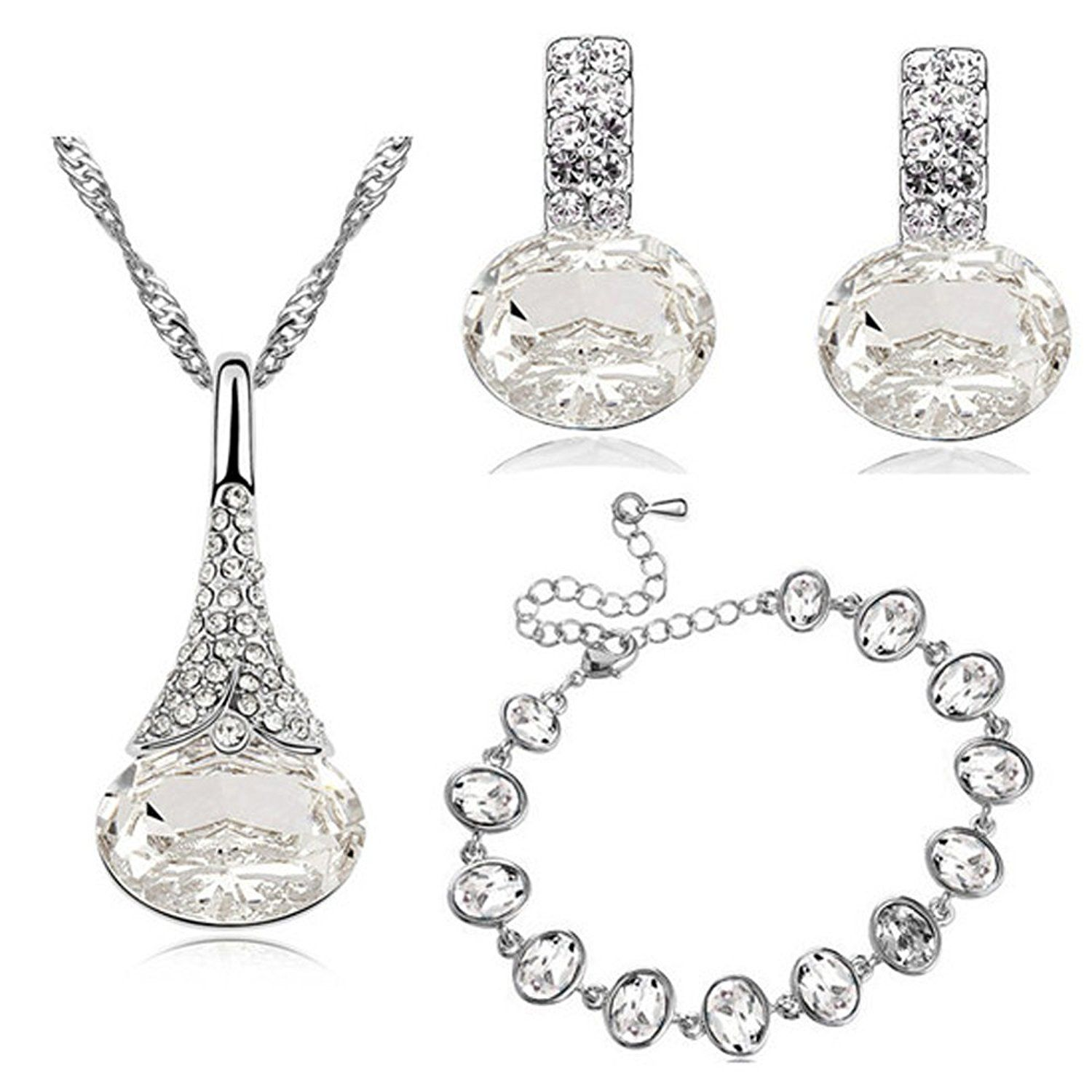 Diamante white bridal jewellery set earrings bracelet and necklace