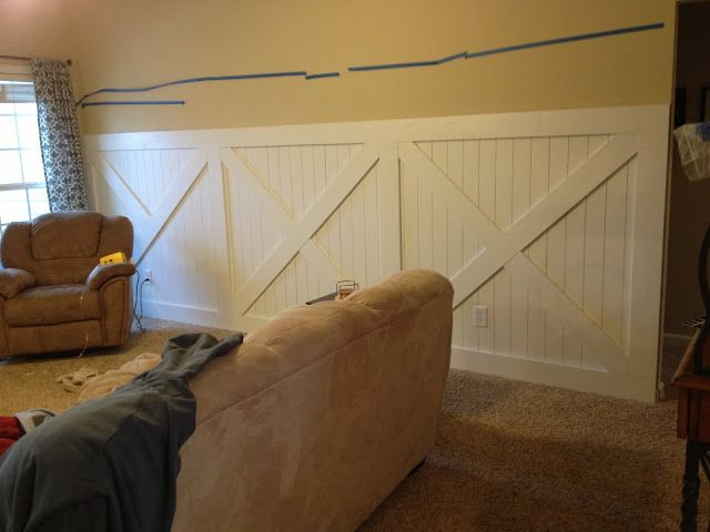 Almost Done With The Barn Door Inspired Wainscoting