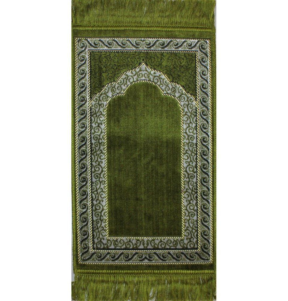 Child Velvet Prayer Rug - Swirly Green
