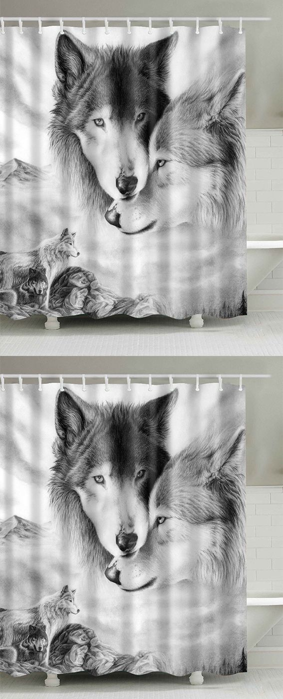 Wolf Digital Print Shower Curtain