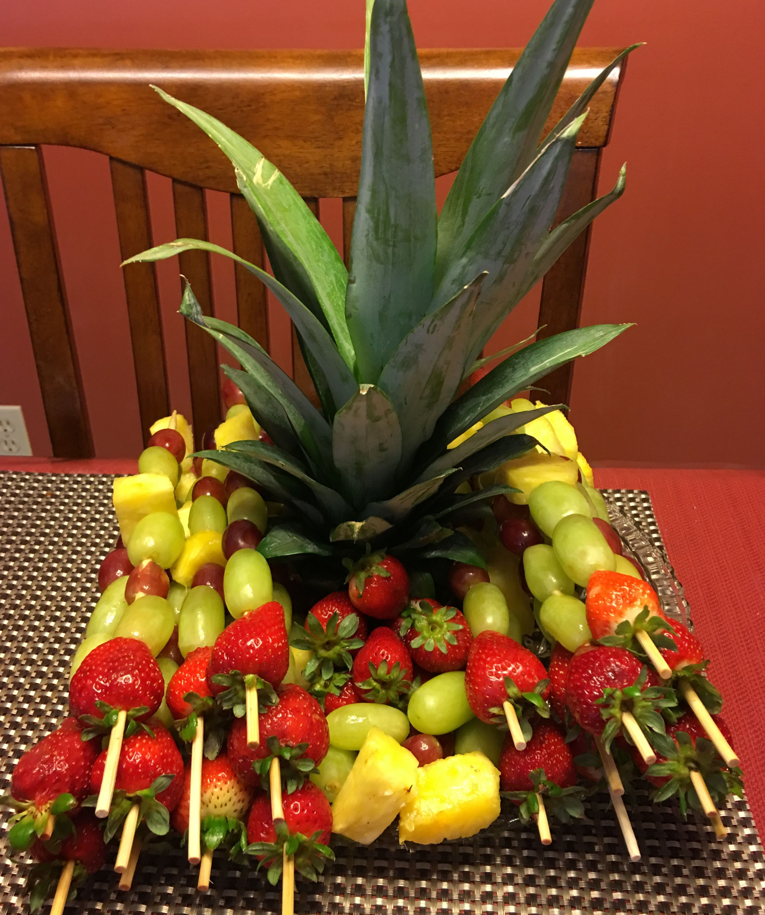Fruit arrangement with probably pineapple strawberries