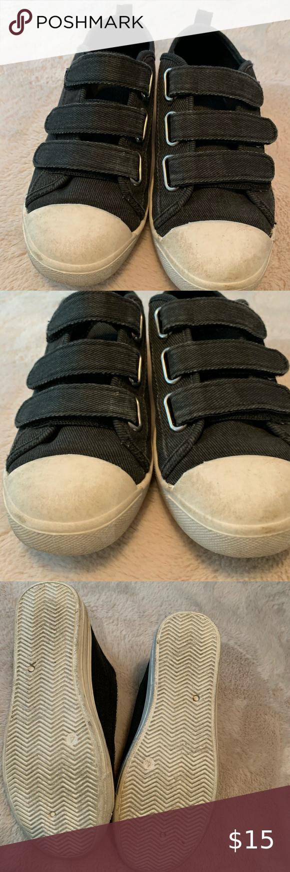 Black Boys Joe Fresh Velcro Shoes Size