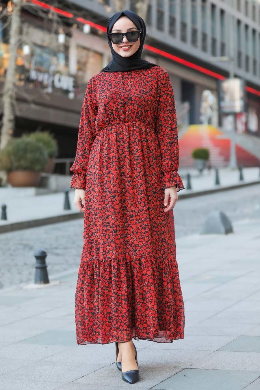 Neva Style Cicek Desenli Kirmizi Tesettur Elbise 10066k Tesetturisland Com 2020 Elbise Moda Stilleri Maksi Elbiseler
