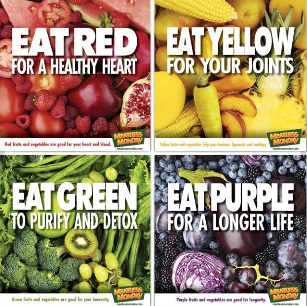 Red fruits and vegetables are good for your heart and blood.  Yellow fruits and vegetables are good for your tendons, ligaments and cartilage.  Green fruits and vegetables are good for your immunity.  Purple fruits and vegetables are good for longevity.