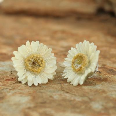 Natural Flower Button Earrings White Aster Novica Flower Earrings Button Flowers Flowers
