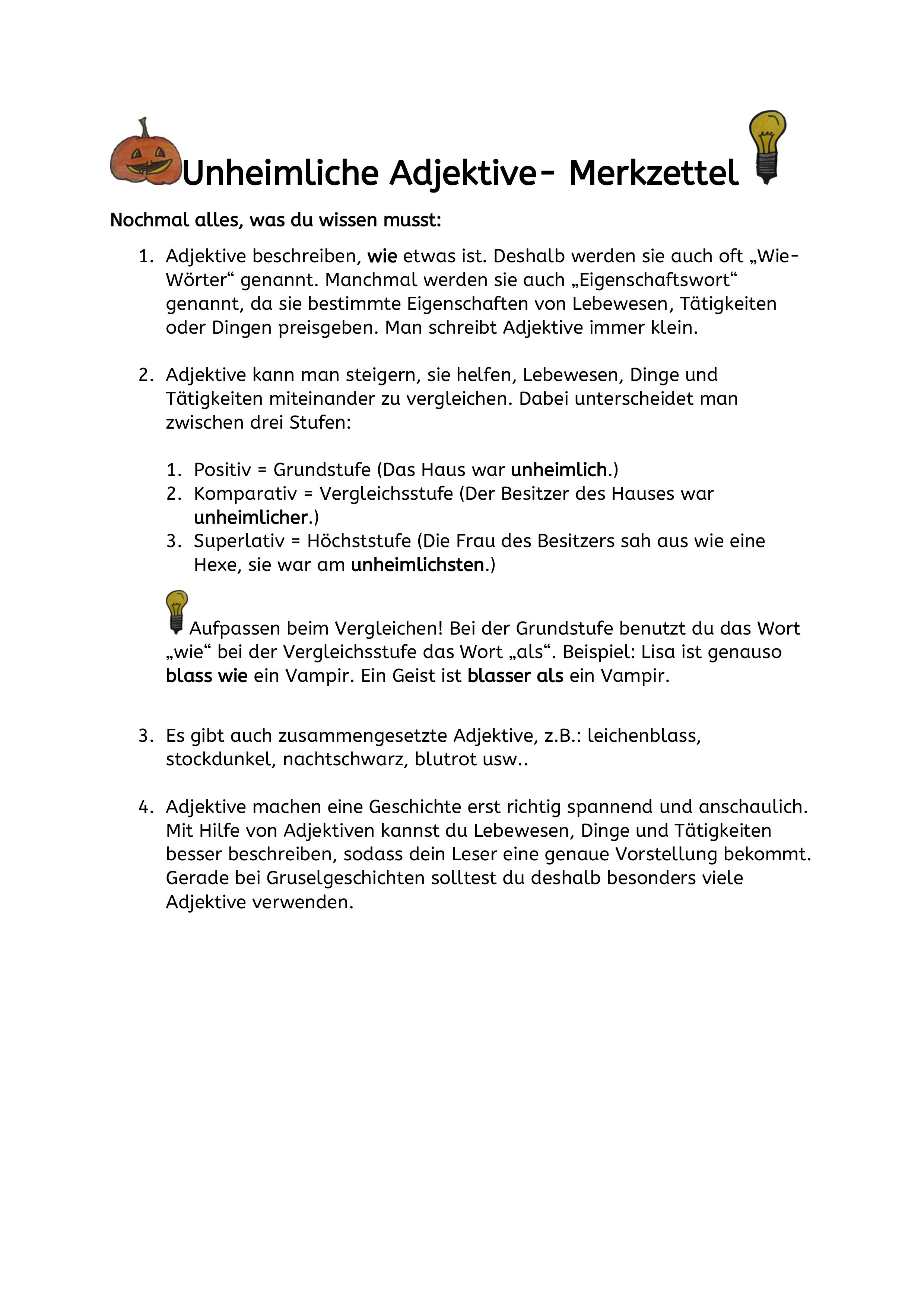 Unheimliche Adjektive Unterrichtsmaterial Im Fach Deutsch In 2020 Adjektive Deutsch Unterricht Eigenschaftsworter