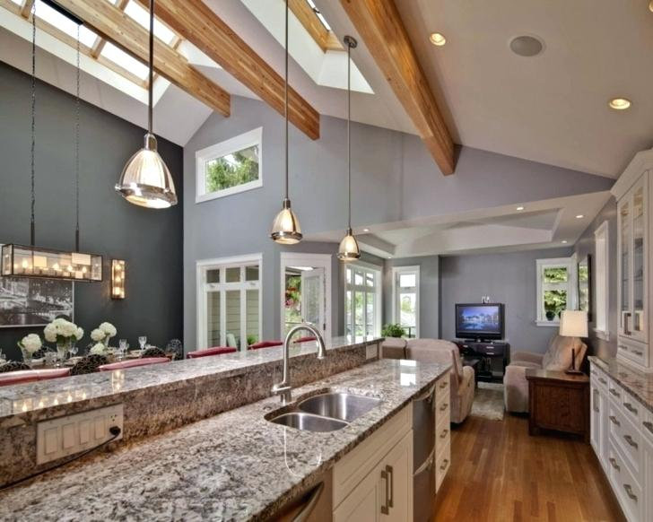 Vaulted Ceiling Lighting Great Lighting Ideas For Vaulted Ceiling Kitchen Ceiling Lig In 2020 Kitchen With High Ceilings Vaulted Ceiling Kitchen Kitchen Ceiling Lights