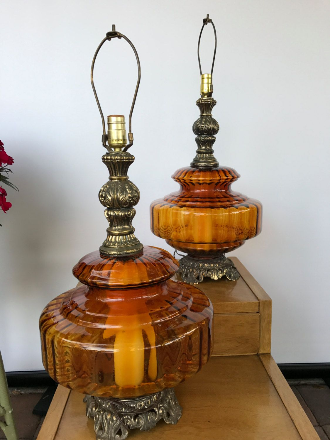 Amber Gl Hollywood Regency Lamps By Bazemorevault On Etsy