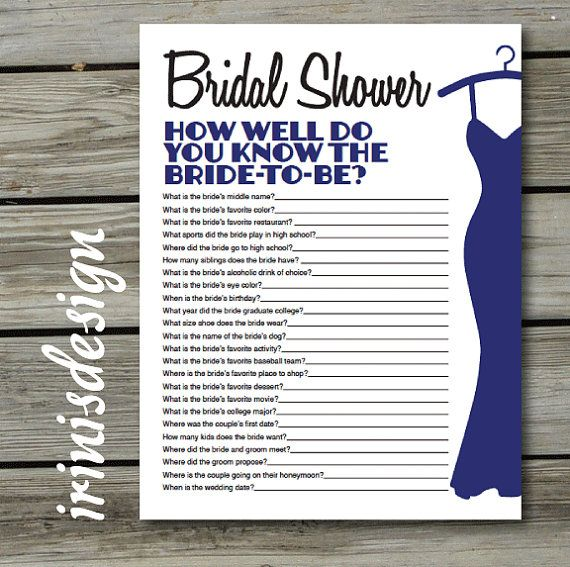 Bridal Shower Game Quiz How Well Do You Know The By