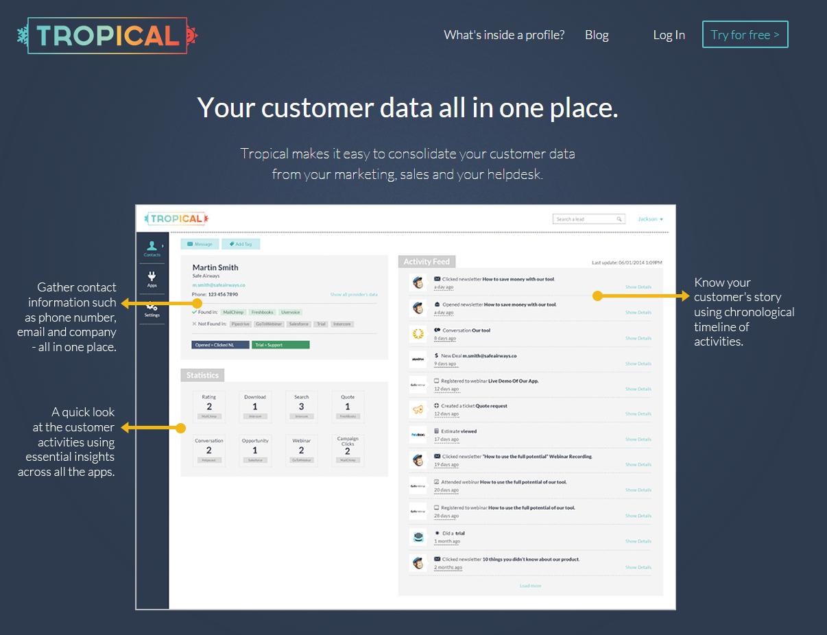 tropical.io, plataforma online para centralizar y gestionar información de la clientela a partir de la que se almacena en distintas plataformas. De pago, prueba de 14 días.