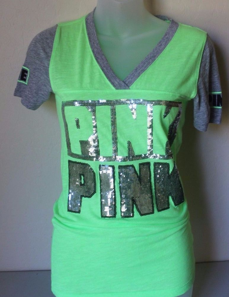 PINK Victoria's Secret Green V-Neck Tee T-Shirt Bling Sequin XS X ...