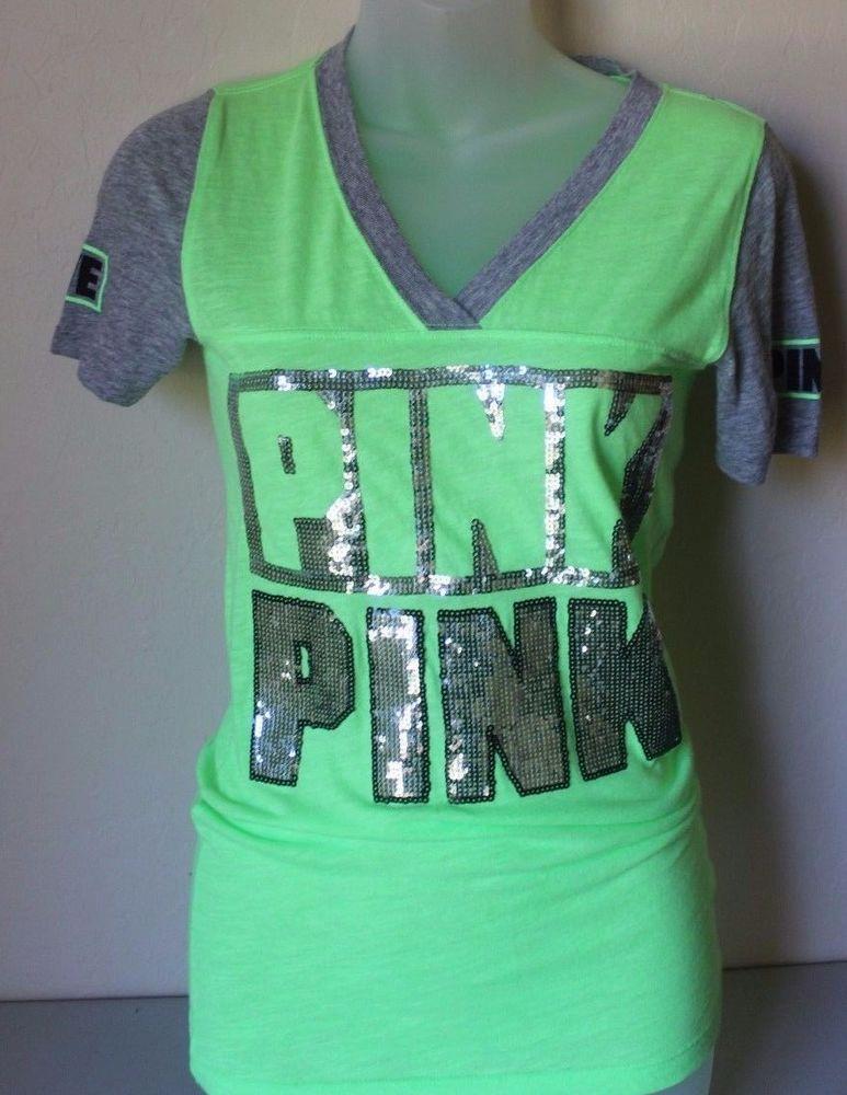 PINK Victoria's Secret Green V-Neck Tee T-Shirt Bling Sequin XS X ...