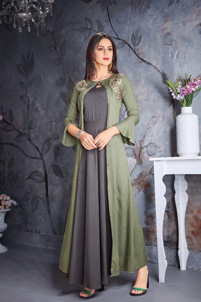 Green Fancy Event Wear Cotton Floor Length Gown With Bell Sleeves 355 31975 Whatsapp 91 9377 Cotton Gowns Stylish Dress Designs Sleeves Designs For Dresses
