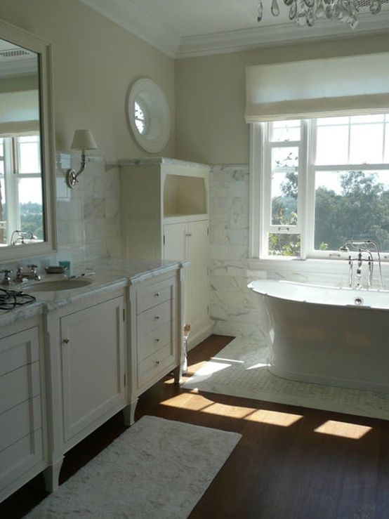 wood floor white wall with gray  white bathroom wood