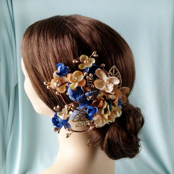 Royal Blue And Gold Flower Hair Accessory Bridal Hair Clip
