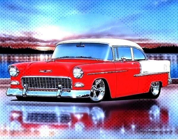 1955 Chevy Bel Air 2 Tür Limousine Hot Rod Auto Kunstdruck 11 x 14 Poster  - Terrys rodzz -
