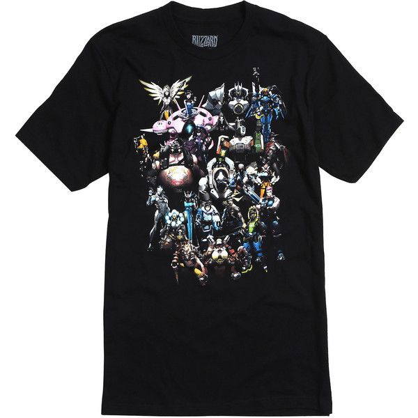 Overwatch Characters T-Shirt Hot Topic ❤ liked on Polyvore featuring tops, t-shirts, logo design t shirts, cotton t shirts and cotton tee