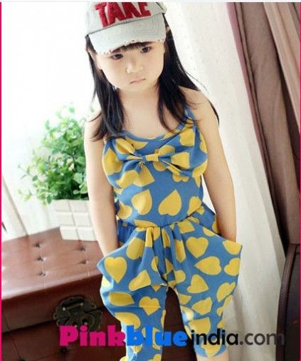 f5fcbe778a39 Blue Baby Girl Jumpsuit with Yellow Hearts Print