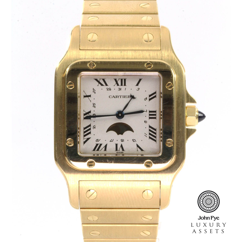 Cartier Santos Moon Phase Gents 18ct Gold Quartz Watch