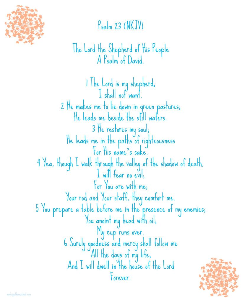 Psalm 23 Free Printable Psalms Printable Prayers Psalm 23 Nkjv