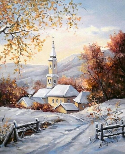 Pin By Joy Davis On Christmas In 2018 Neige Peinture Paysage Hiver