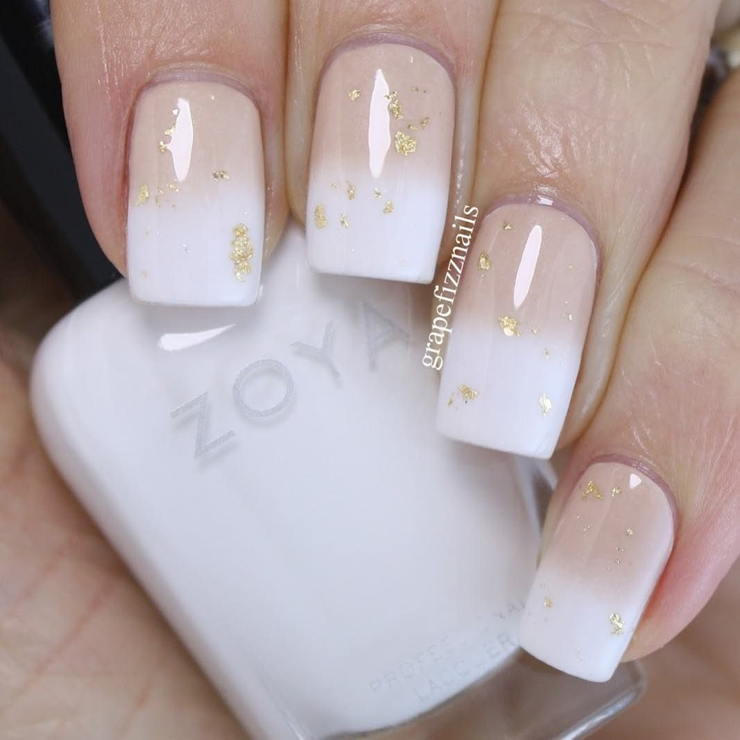 White and nude gradient with some gold foil