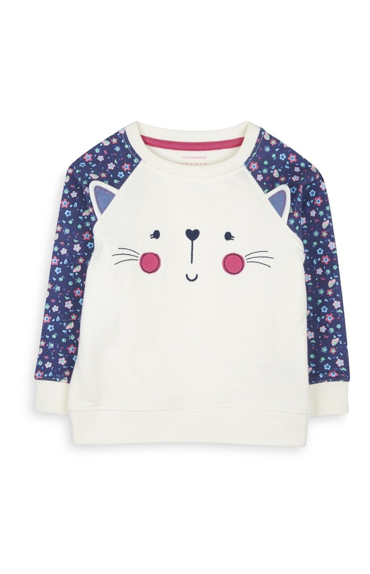 Cat Face Raglan Sleeve Top