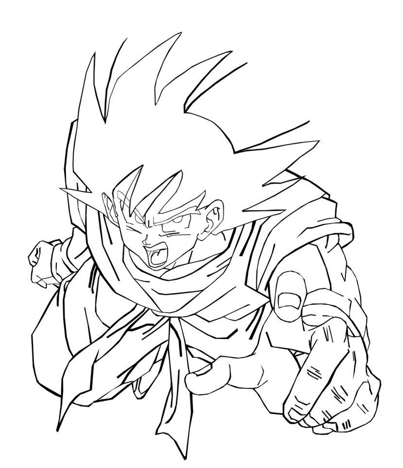 Plain Dragon Ball Z Goku Vs Vegeta Coloring Pages Follows ...