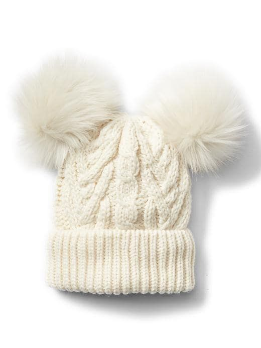 b88fabb48 Gap Baby Pom-Pom Cable Knit Beanie Ivory Frost | Products | Knitted ...