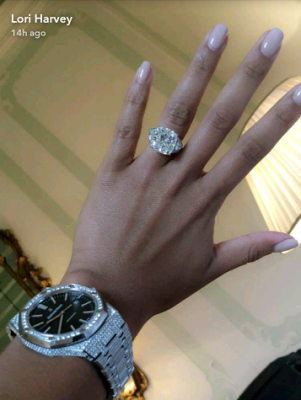a6c7a6c9ac0e8 Lori Harvey flaunts her huge Diamond engagement ring in new photo ...