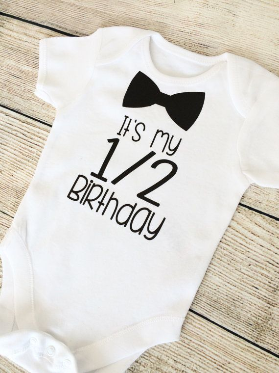 Half Birthday 6 Month Baby Boy Outfit Black By FunkyBubbaloo