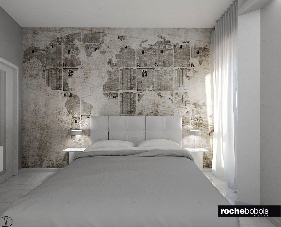 Camera #matrimoniale: #letto imbottito in pelle #grigio #chiaro e #carta da parati vilinica e ...