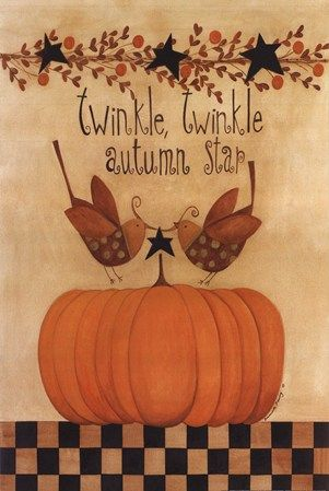 Primitive Fall Thanksgiving Blessed Pumpkin Crow Sunflower Print on Canvas 8x10/""