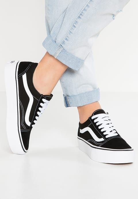 old skool vans black platform