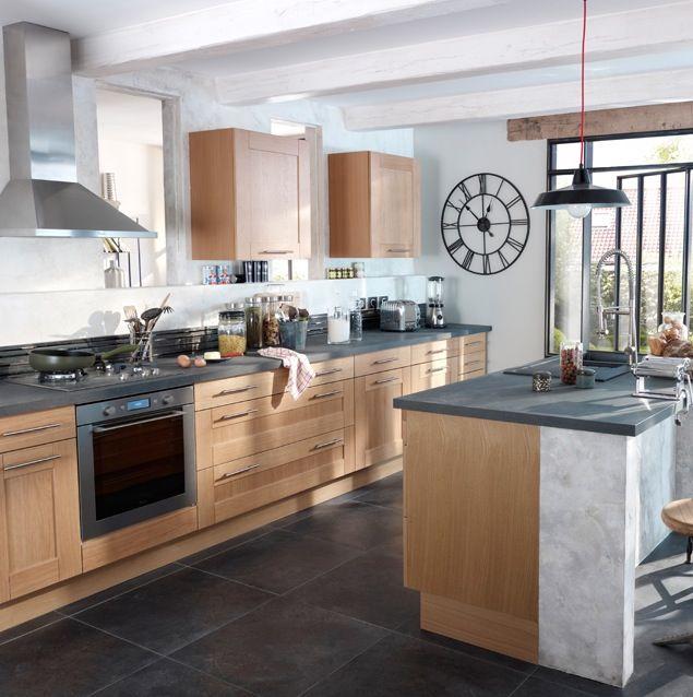 Cuisine bois beige sol ardoise recherche google deco for Google decoration cuisine