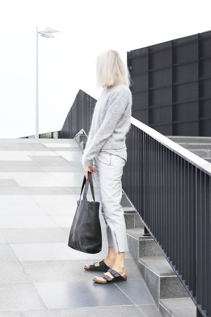 Outfit: grey leather trousers