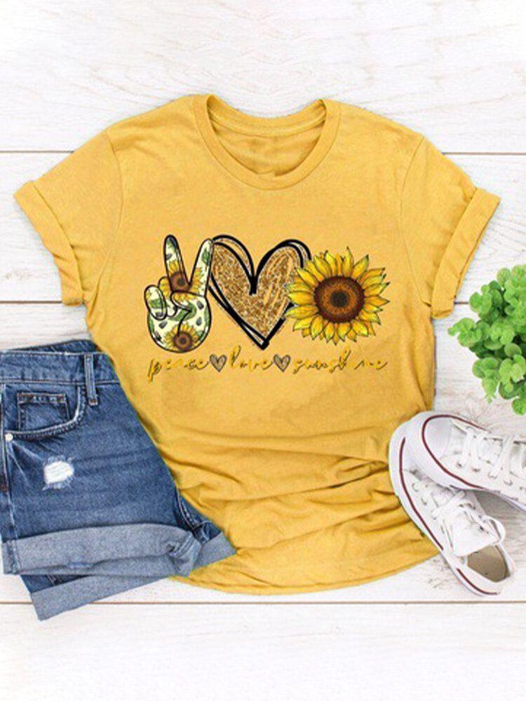 Sunflower Print O neck Short Sleeve Casual T shirt P1680257, #05 / US 10