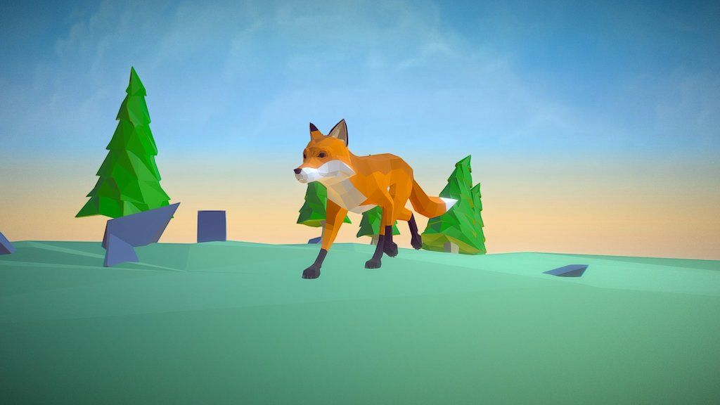 Poly Art: Fox by malbers.shark87
