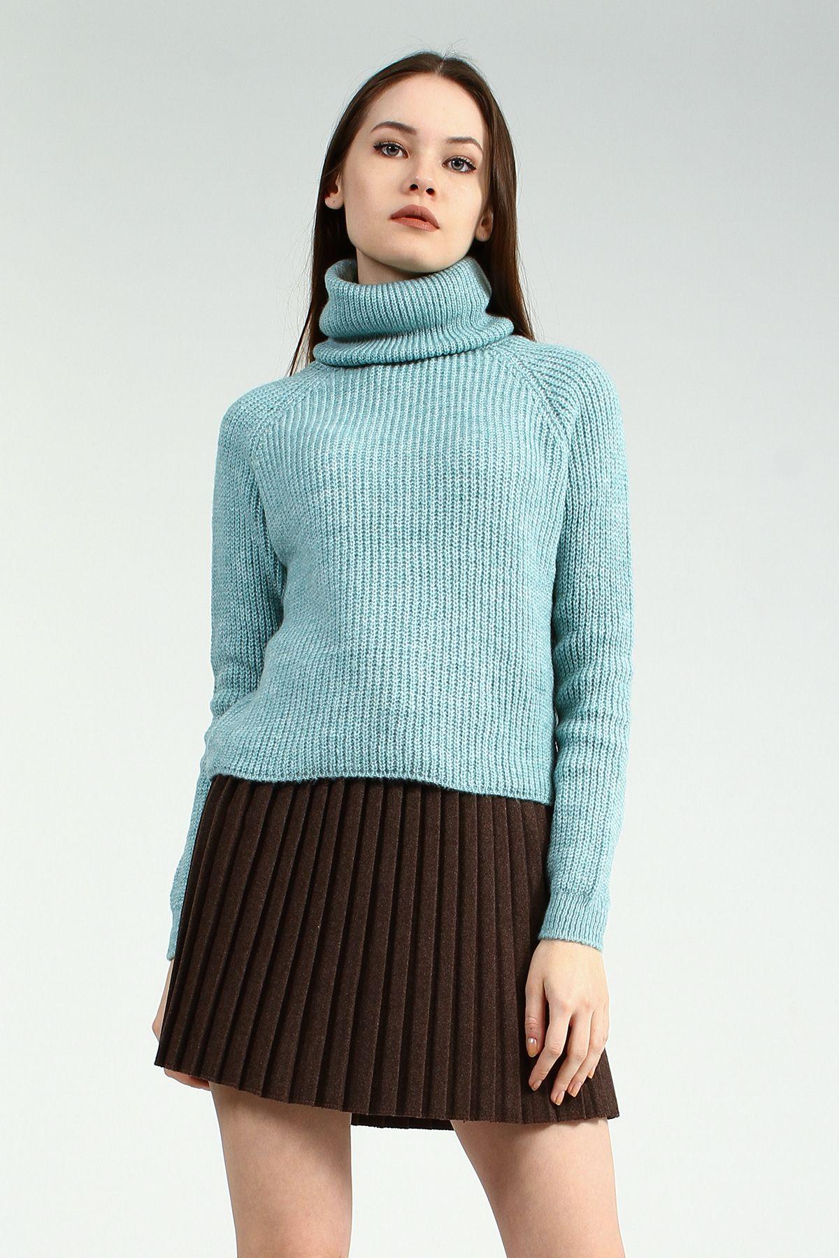 Bogazli Sac Orgu Desenli Uzun Yesil Triko Kazak Green Turtleneck Knitting Tunik Kazak Triko Tunik Bogazli Triko Kazak Elbise Mankenler